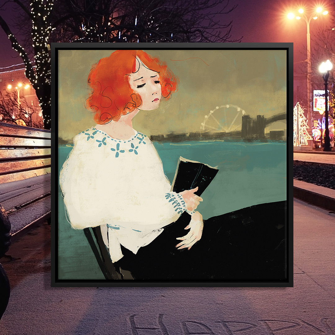 """Talk To The City"" by Anikó Salamon shows a woman with orange hair reading a book while sitting in front of a lake with a ferris wheel and bridge in view."