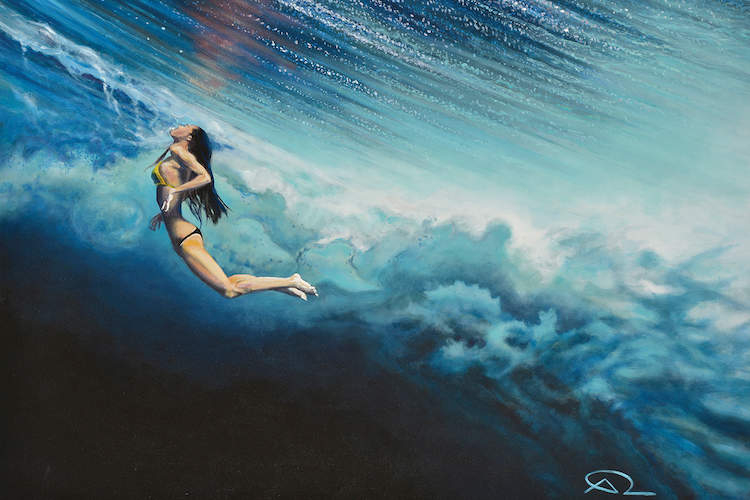 """Dancing Beneath The Clouds"" by Antoine Renault shows a woman wearing a bikini submerged beneath an ombre sea."