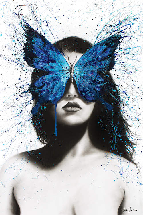 """Butterfly Mind"" by Ashvin Harrison shows a profile of a woman in black and white with a blue butterfly covering her eyes"
