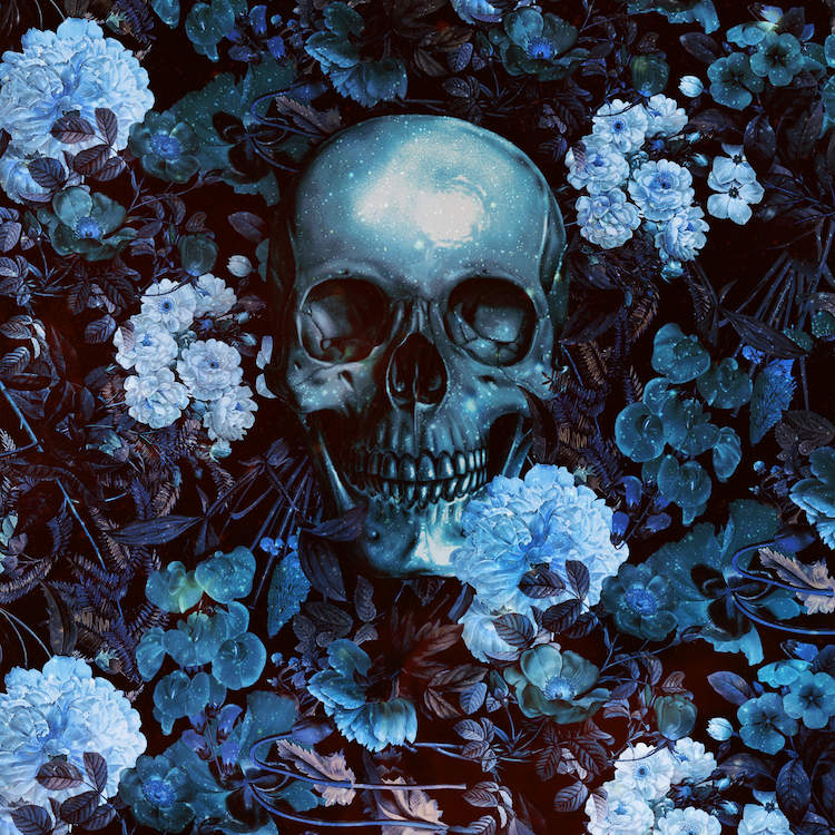 """Skull And Flowers"" by Burcu Korkmazyurek shows a blue skull buried in an array of blue flowers."