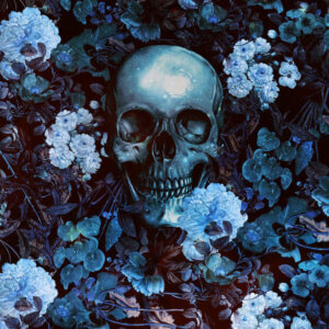 """Skull And Flowers"" by Burcu Korkmazyurek shows a blue skull buried in an array of blue flowers."