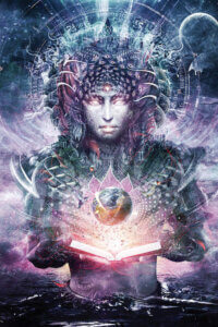 """""""Ocean Atlas"""" by Cameron Gray shows a purple robotic-like human holding open a book with a glowing earth floating above it."""