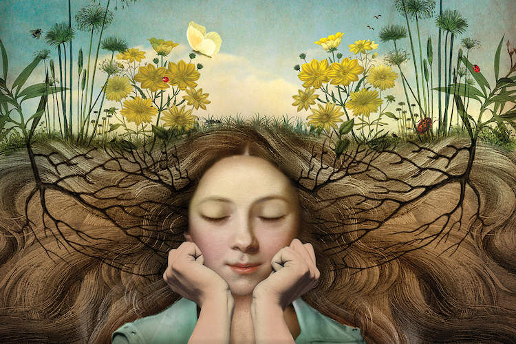 """""""Listen"""" by Catrin Welz-Stein shows a girl resting her face on her hands while her hair extends outward and acts as the foundation for a garden blooming above her."""