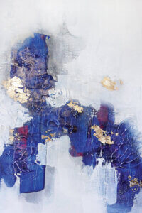 """""""Afraid To Fall II"""" by Christine Olmstead shows a crackled blue abstraction featuring gold foils and splashes of maroon."""
