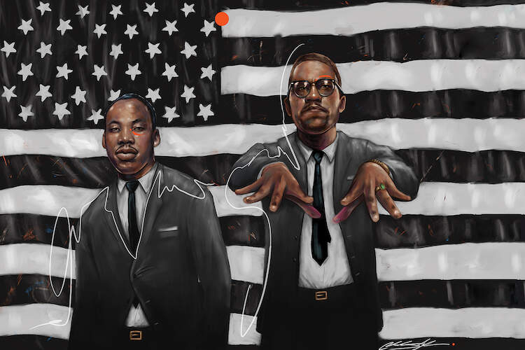 """Activonia"" by Chuck Styles shows civil rights leaders Martin Luther King Jr. and Malcolm X posed similarly to the iconic duo Big Boi and Andre 3000 from Outkast."