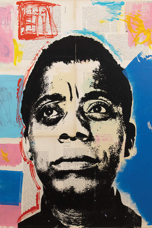 """James Baldwin"" by Dane Shue shows James Baldwin in black and white against a blue, pink, red, and yellow background."