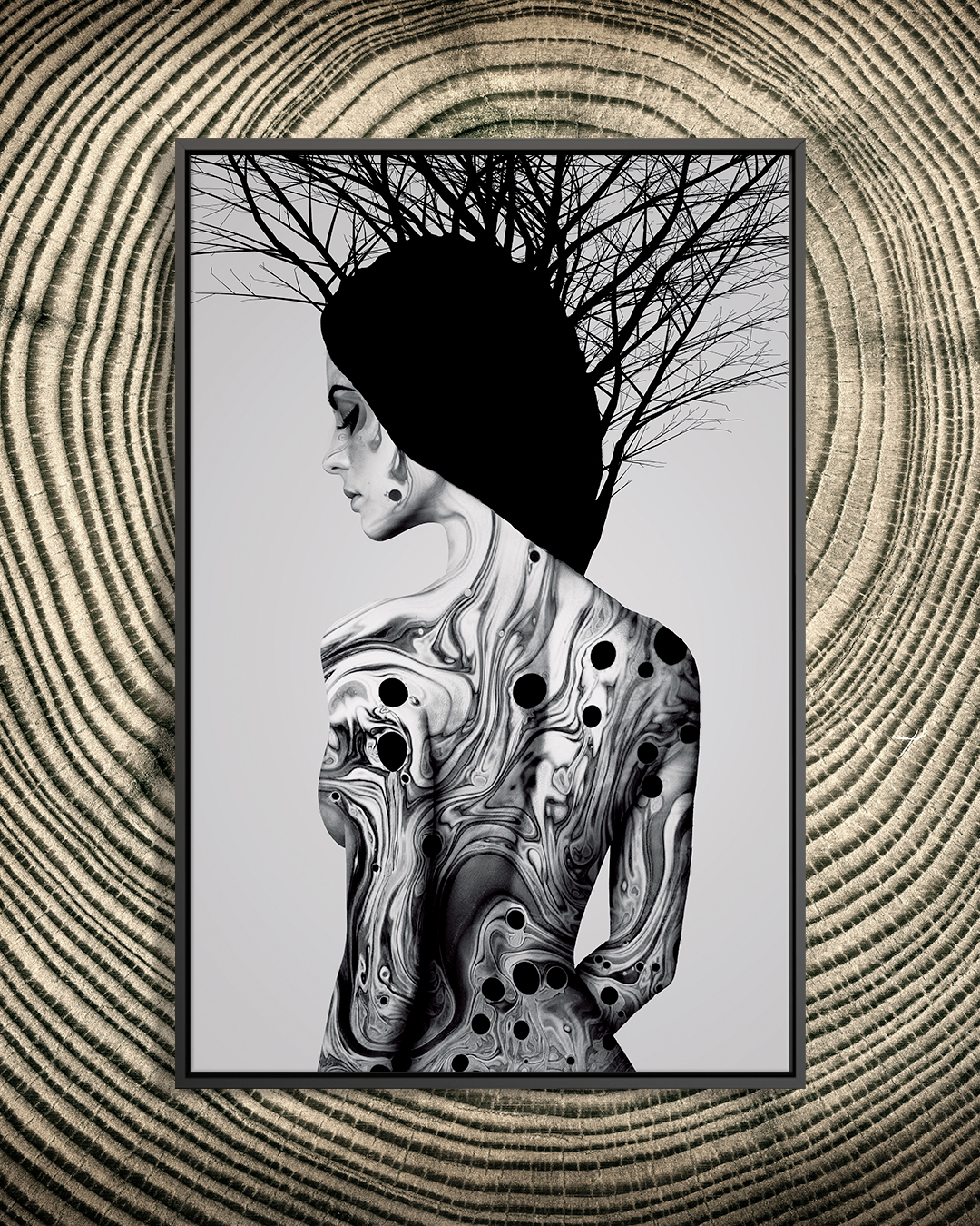 """""""Changing"""" by Dániel Taylor shows the back of a woman with part of her face in view while marbled swirls of black cover her body."""