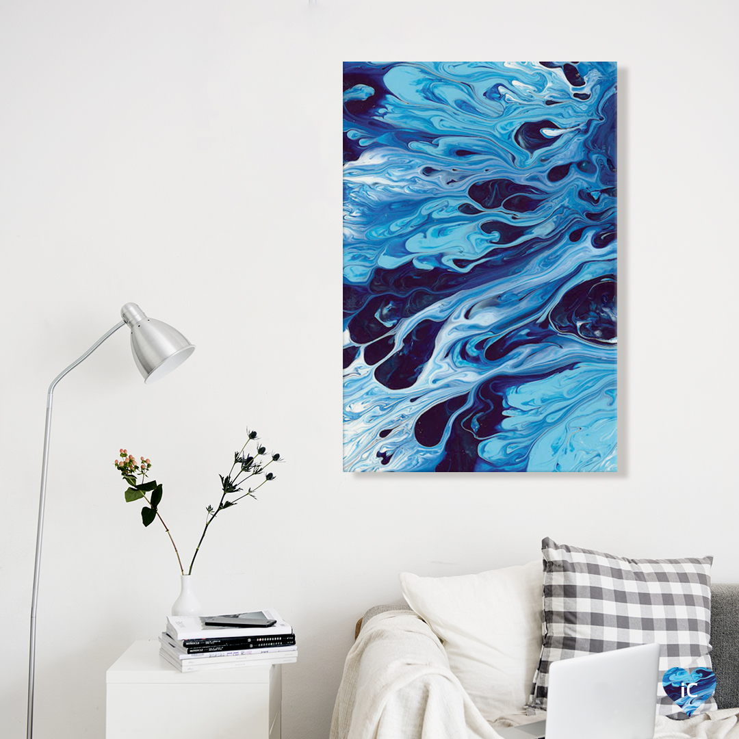 """Abstract XIX"" by Destiny Womack shows ripples of various toned blues creating a liquid-like effect."
