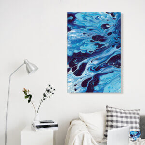 """""""Abstract XIX"""" by Destiny Womack shows ripples of various toned blues creating a liquid-like effect."""