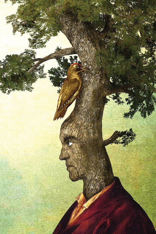 """""""Tenacious"""" by Diogo Verissimo shows a tree wearing a maroon blazer with a face emerging from its trunk and a bird perched in the branches above."""