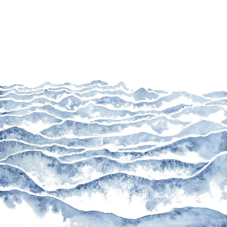 """""""Vast"""" by Emily Magone shows blue wave-like peaks against a white background. This print can bring a dose of texture and movement to any space."""
