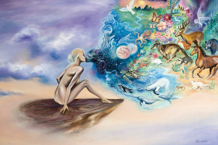 """""""Kiss Of Life"""" by Erica Wexler shows a nude woman touching lips with a rainbow cloud-like figure comprised of wild animals and scenes from nature."""