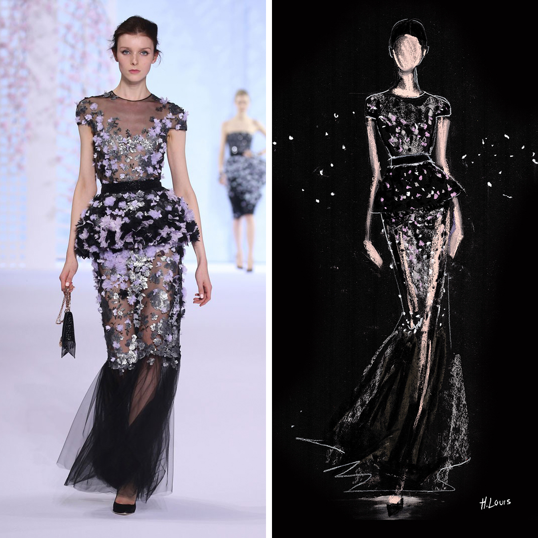"""Glitter Peplum"" by Hodaya Louis shows a woman in a long, sparkly, black gown against a black background, inspired by a look seen on the Ralph & Russo runway."