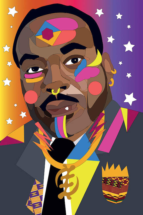 """MLK"" by Indie Lowve shows a colorful portrait of Martin Luther King in a gray suit with African-inspired design elements across his blazer and face."