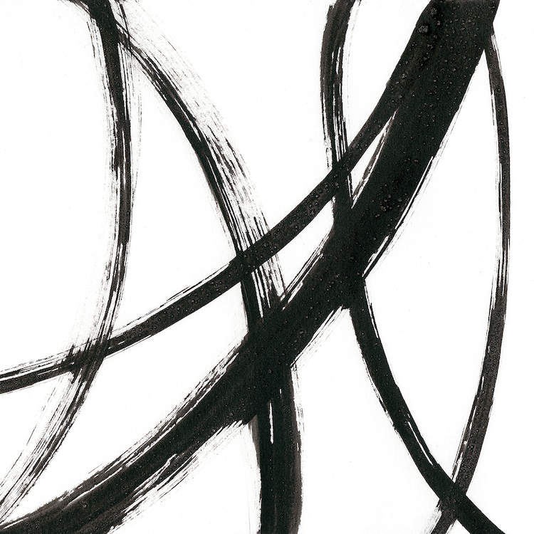 """""""Linear Expression II"""" by J. Holland shows six curved black lines against a white background."""