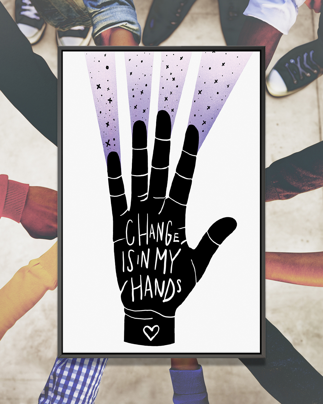 """Change Is In My Hands"" by Jason Naylor shows the phrase ""Change is in my hands"" written in white on a black hand with streaks of purple coming off the fingertips."