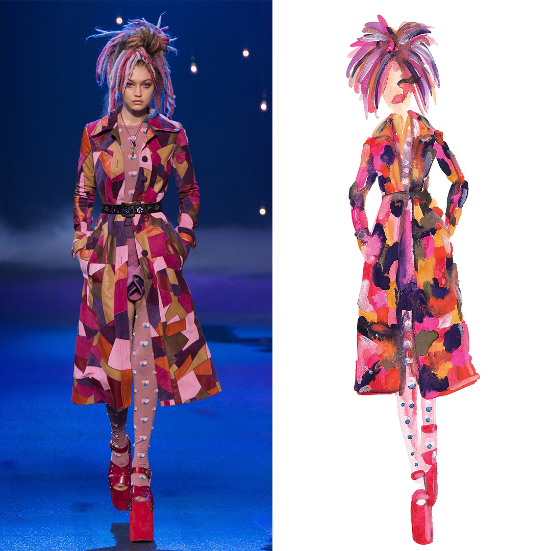 """Gigi Hadid, Marc Jacobs Spring '17 (New York Fashion Week)"" by Kahri shows a portrayal of Gigi Hadid with pink and purple hair wearing a multicolored patterned trench coat with polka dot tights and pink platform shoes, inspired by a look seen on the Marc Jacobs runway."