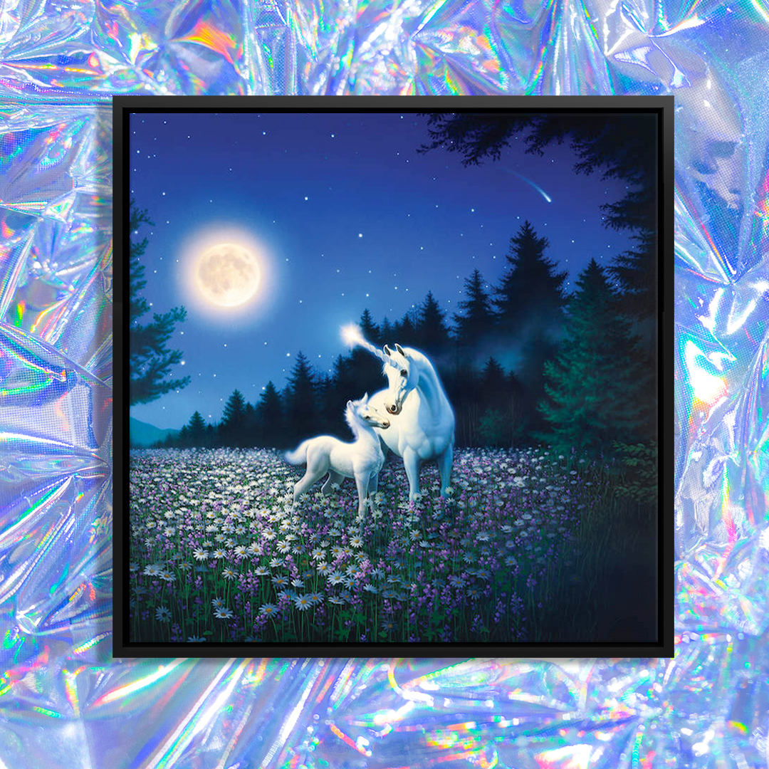 """Spring Beauty"" by Kirk Reinert shows two unicorns standing in a floral field surrounded by trees underneath a glowing moon in a blue sky."