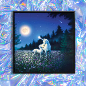 """""""Spring Beauty"""" by Kirk Reinert shows two unicorns standing in a floral field surrounded by trees underneath a glowing moon in a blue sky."""