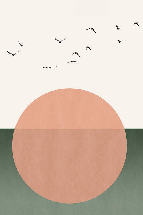 """""""Free Souls"""" by Kubistika shows a peach moon with birds flying over it against a green and white background."""