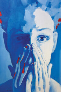 """""""Night Vision"""" by Li Zhou shows the face of a person in blue holding their hands over their mouth with hints of red."""