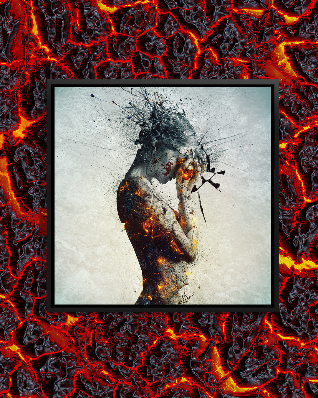 """""""Deliberation"""" by Mario Sanchez Nevado shows a woman covering her face while wisps of gray burst from her head and fire-like orange tones shine through her body."""