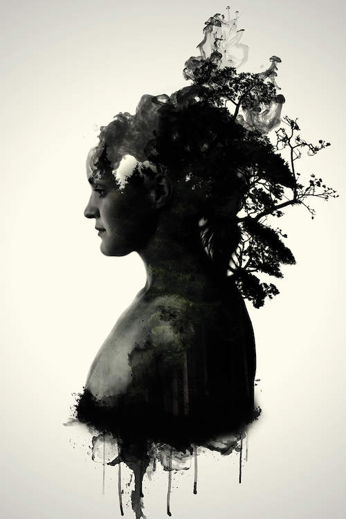 """""""Mother Earth"""" by Nicklas Gustafsson shows the profile of a person with shadowy foliage growing out of their head and neck."""