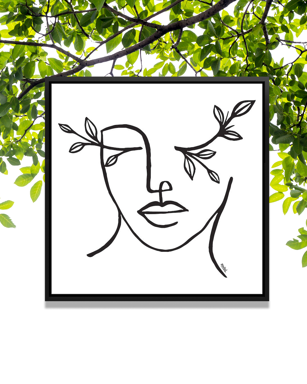 """""""Beauty Is In The Eye Of The Beholder"""" by Ninhol shows a human face formed from black lines with branches protruding from their eyes."""