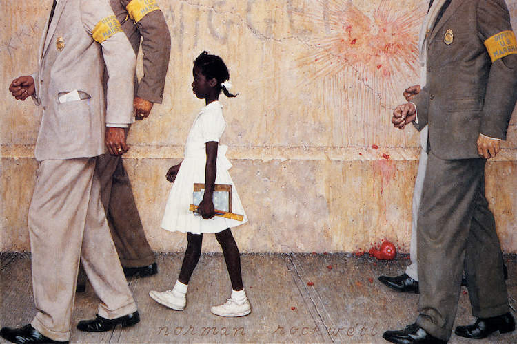 """The Problem We All Live With (Ruby Bridges)"" by Norman Rockwell shows an African American girl, 6-year-old Ruby Bridges, wearing a white dress as she's escorted by four federal marshals to her first day of class at an all-white school in 1960, as racial slurs and tomatoes remnants display on the wall behind her."