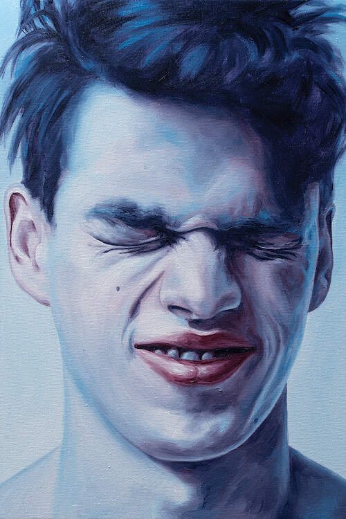 """Closed Eyes"" by Oleksandr Balbyshev shows a blue-toned profile of a man tightly holding his eyes closed."