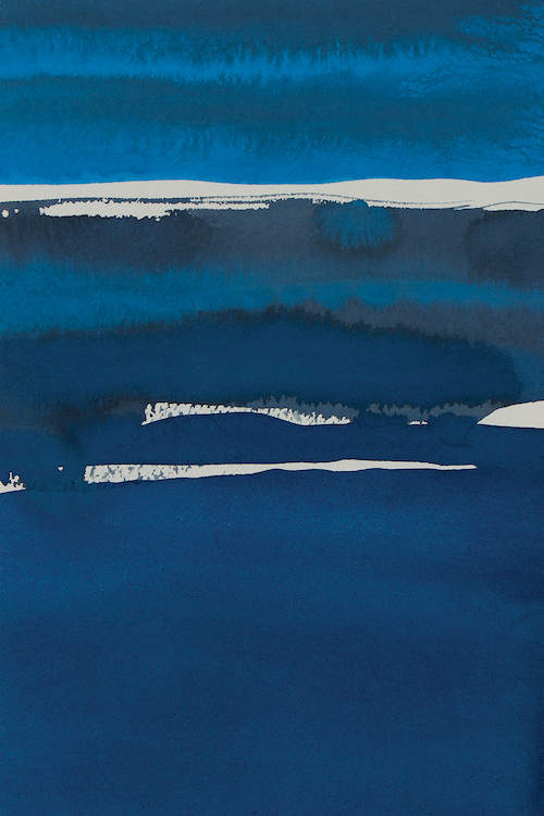 """Sapphire Horizon I"" by Rob Delamater shows layers of various toned blues featuring lines of white."