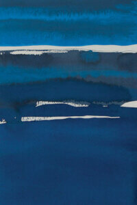 """""""Sapphire Horizon I"""" by Rob Delamater shows layers of various toned blues featuring lines of white."""