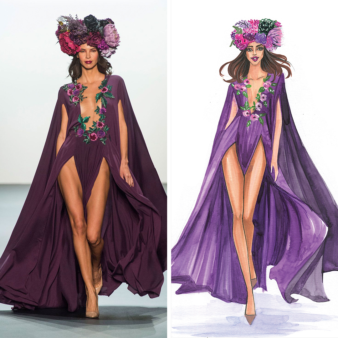"""Michael Costello SS17 Collection"" by Rongrong DeVoe shows a woman wearing a flower crown on her head and a purple gown with a front slit and floral details, inspired by a gown seen on the Michael Costello runway."