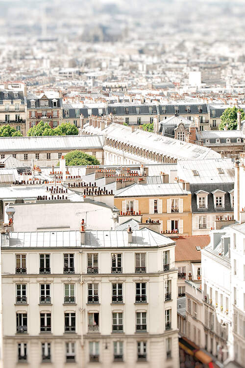 """""""Paris Rooftops"""" by Ruby and B shows the rooftops of neutral-colored buildings in Paris."""
