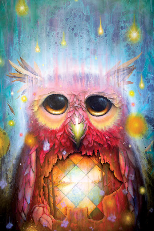 """""""Ancient Rain"""" by Scott Mills shows a pink owl with an orange geometric pattern on its chest standing under falling yellow rain."""