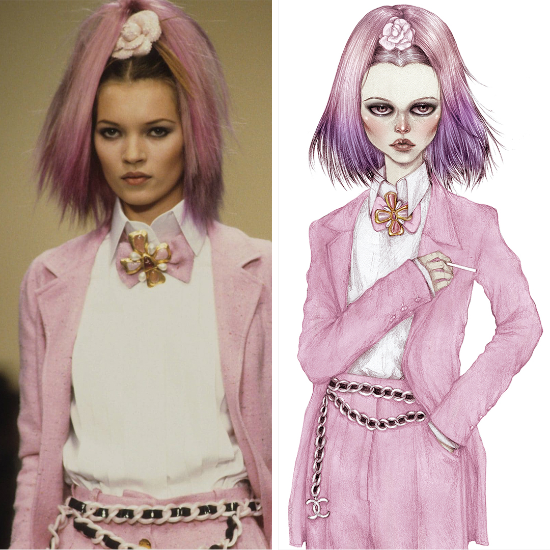 "NKY18 ""Kate In Chanel"" by Skinny Nicky shows a portrayal of Kate Moss with pink and purple hair wearing a pink Chanel suit and matching chain belt, inspired by a look seen on the Chanel runway."