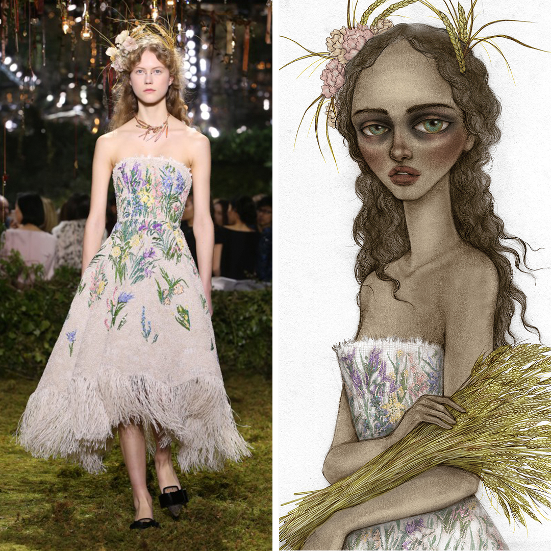 """""""Lady Harvest"""" by Skinny Nicky shows a woman wearing a strapless gown and flowers in her hair while holding a bouquet of pampas grass, inspired by a look seen on the Chanel runway."""
