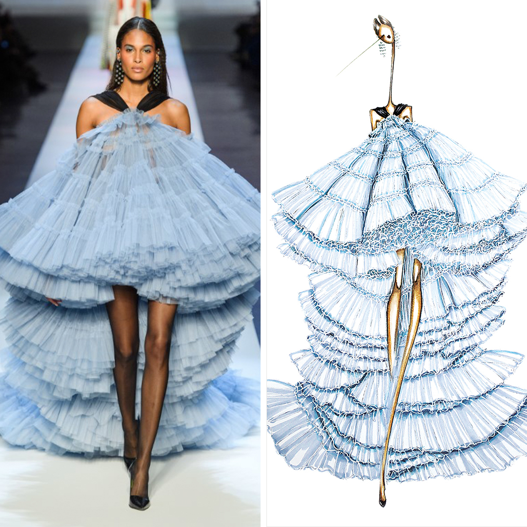 """Gaultier"" by Sofie Nordstrøm shows a woman with an elongated neck wearing a light blue, ruffled gown by Jean Paul Gaultier, inspired by a look seen on the Jean Paul Gaultier runway."