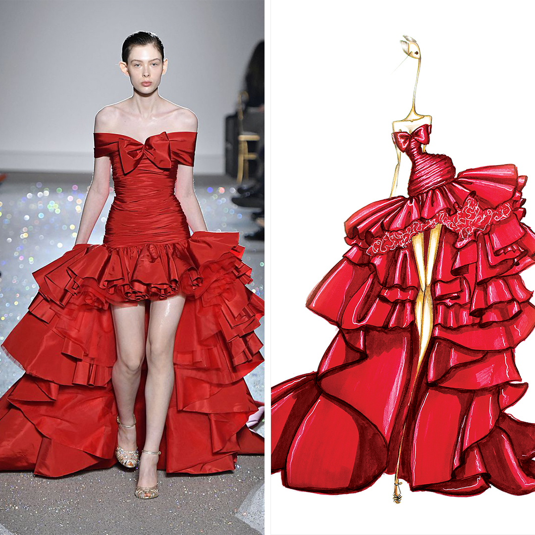 """Giambattista Valli Red"" by Sofie Nordstrøm shows a woman with an elongated neck wearing a red, ruffled Giambattista Valli gown, inspired by a look seen on the Giambattista Valli runway."