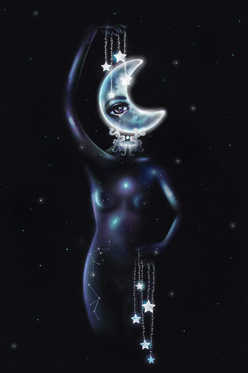 A nude woman with a crescent moon-shaped head holding strings made of stars and constellations on her body against a dark night sky