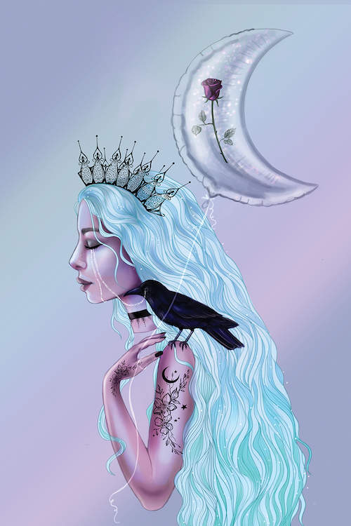 The profile of a female with long, silvery-white hair wearing a black crown and necklace, with floral tattoos on her arm and a raven perched on her left shoulder, holding a crescent moon-shaped balloon against a pastel-colored background