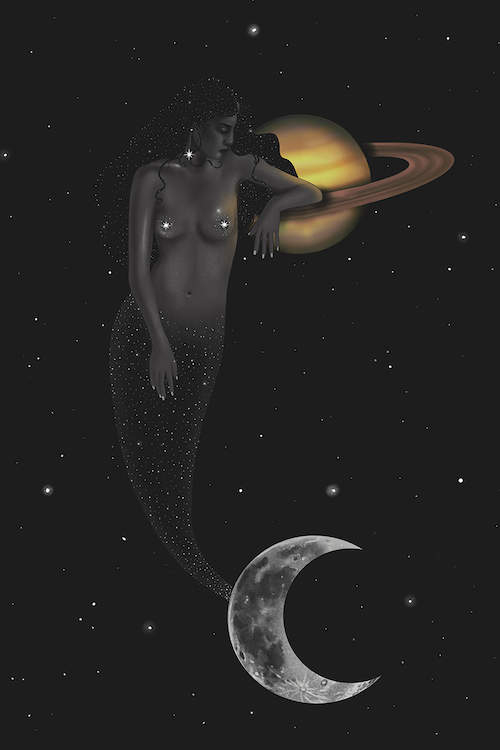 A mermaid with a tail adorned with stars and a crescent moon-shaped fin leaning on Saturn against a dark night sky
