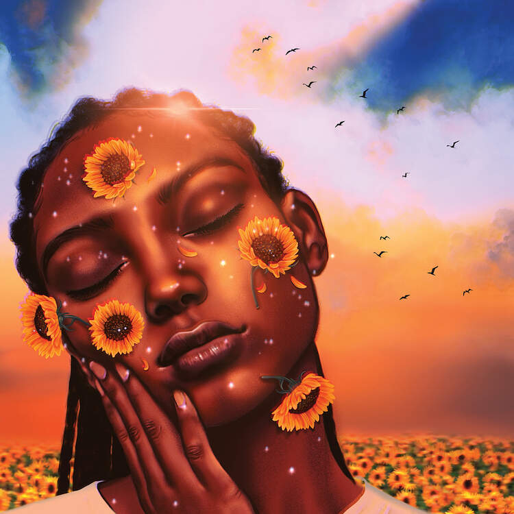 A black female with her eyes closed, her hand on her cheek, and sunflowers falling against her face against a sunny background and sunflower field