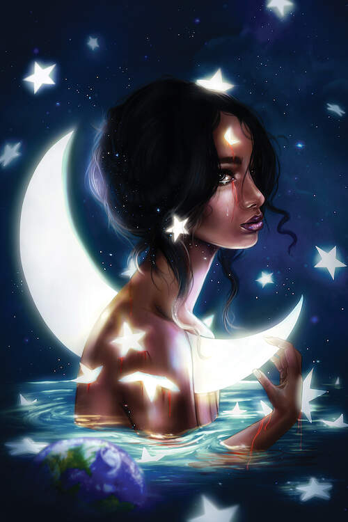 The profile of a woman with dark hair sitting in water with a crescent moon impaled through her body and stars glowing around her