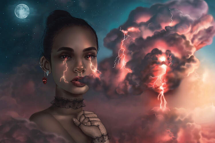 A dark haired female blowing dark clouds through her mouth, with thunderbolts coming from her glowing red eyes against a stormy background
