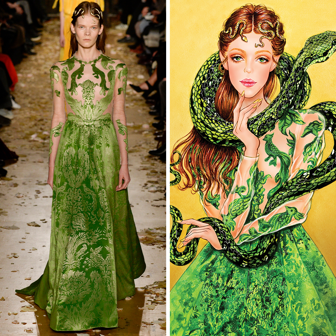 """""""Valentino Serpent"""" by Sunny Gu shows a woman with auburn hair in a green gown with a snake wrapped around her, inspired by a look seen on the Valentino runway."""