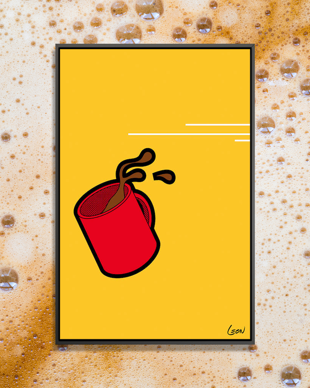 """Flash Morning 1"" by Grégoire ""Léon"" Guillemin shows a red mug mid-fall as coffee spills out against a yellow background."
