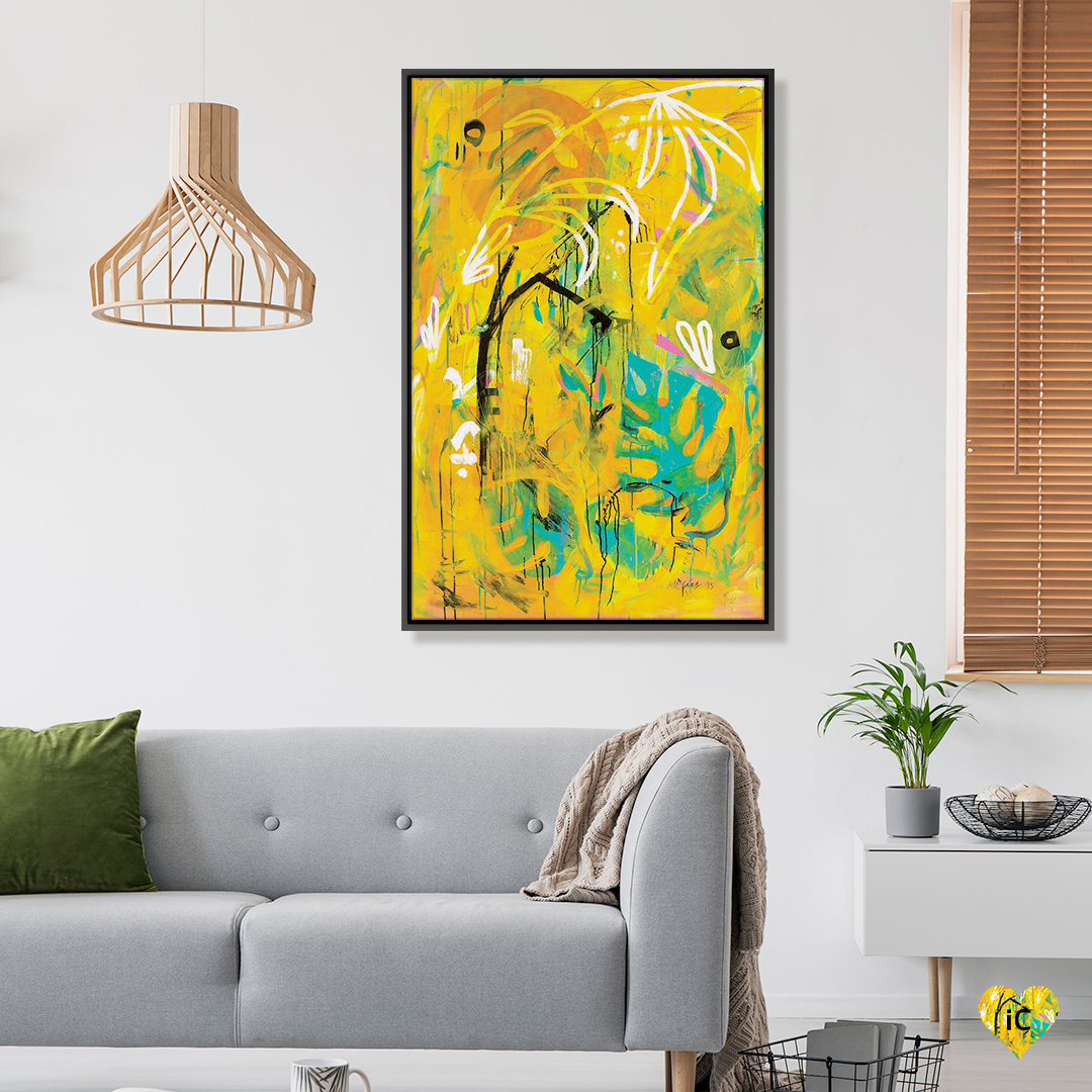 """If You Like Pina Coladas"" by Armando Mesias shows a yellow background featuring blue, white, black, and pink plant-like shapes."