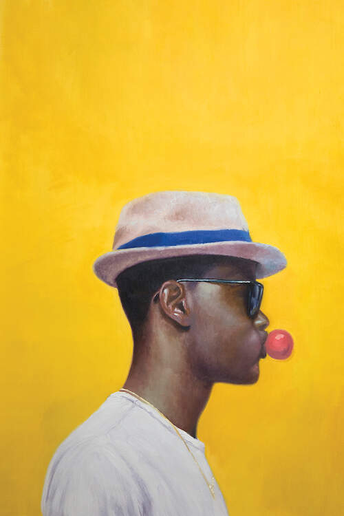 """Rocksteady"" by Alexander Grahovsky shows the profile of a man wearing a fedora and sunglasses while blowing pink bubblegum against a yellow background."