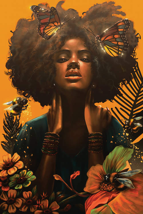 """""""Blossom"""" by alvinpbx shows a woman holding her neck while two butterflies rest in her afro and three bees consume pollen from nearby flowers."""